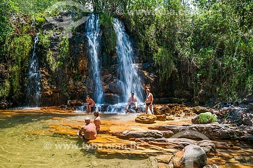 Banhistas na Cachoeira dos Cristais no Parque Nacional da Chapada dos Veadeiros  - Alto Paraíso de Goiás - Goiás (GO) - Brasil