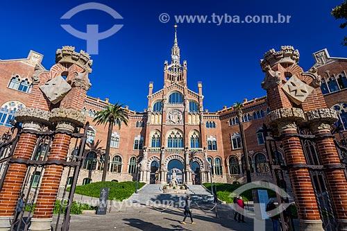 Fachada do Hospital de la Santa Creu i Sant Pau (Hospital da Santa Cruz e São Paulo) - 1930  - Barcelona - Província de Barcelona - Espanha