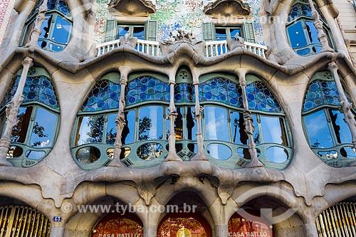 Fachada da Casa Batlló - casa desenhada por Antoni Gaudí  - Barcelona - Província de Barcelona - Espanha