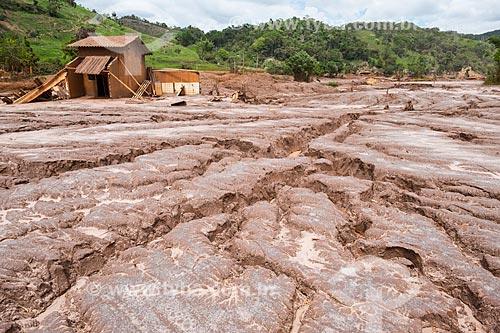 Ruínas de casas no distrito de Paracatu de Baixo após o rompimento de barragem de rejeitos de mineração da empresa Samarco em Mariana (MG)  - Mariana - Minas Gerais (MG) - Brasil