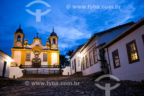 Vista da Rua da Câmara com a Igreja Matriz de Santo Antônio (1710) ao fundo  - Tiradentes - Minas Gerais (MG) - Brasil