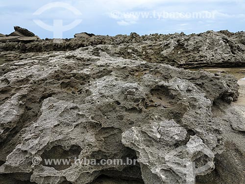 Detalhe de rocha que fica exposta quando a maré baixa - Praia do Meio  - Natal - Rio Grande do Norte (RN) - Brasil