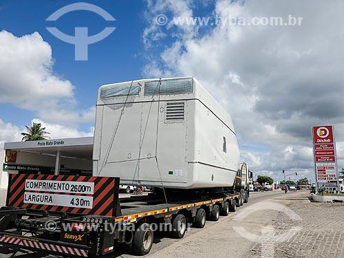 Peça de aerogerador sendo transportada para o Parque Eólico Asa Branca  - João Câmara - Rio Grande do Norte (RN) - Brasil
