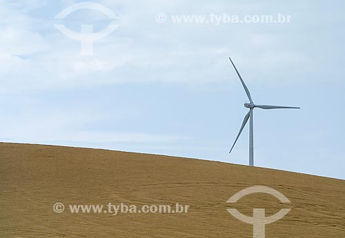 Turbinas geradoras de energia eólica no Parque Eólico Rei do Ventos  - Galinhos - Rio Grande do Norte (RN) - Brasil