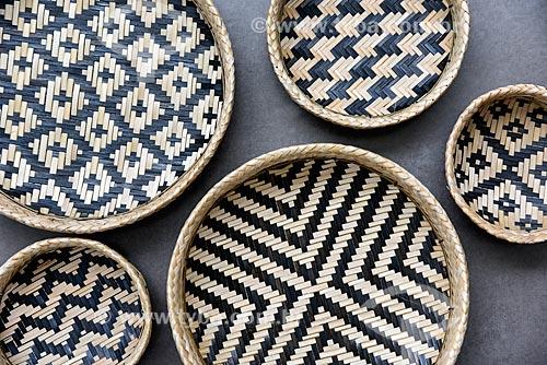 Cesto de palha - Artesanato indígena da tribo Baníuas  - Novo Airão - Amazonas (AM) - Brasil