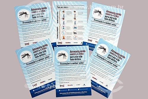 Panfleto com informações sobre a campanha do programa nacional contra o zika vírus, dengue e febre chikungunya  - Rio de Janeiro - Rio de Janeiro (RJ) - Brasil