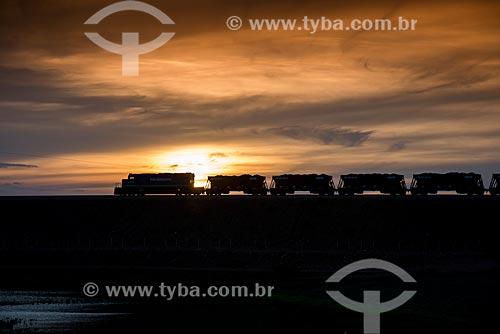 Silhueta de trem na Ferrovia Transnordestina  - Salgueiro - Pernambuco (PE) - Brasil