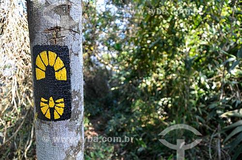 Indicação na trilha do Morro do Queimado  - Rio de Janeiro - Rio de Janeiro (RJ) - Brasil