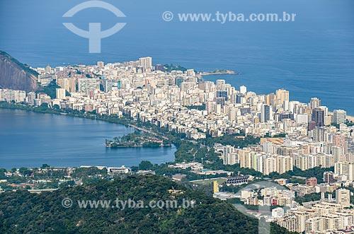 Vista geral dos bairros do Leblon e Ipanema a partir da trilha do Morro do Queimado  - Rio de Janeiro - Rio de Janeiro (RJ) - Brasil
