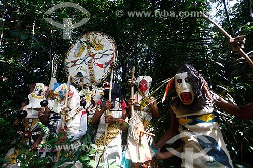 Mascarados durante o Ritual da Moça Nova dos índios Tikunas do Alto Solimões  - Tabatinga - Amazonas (AM) - Brasil