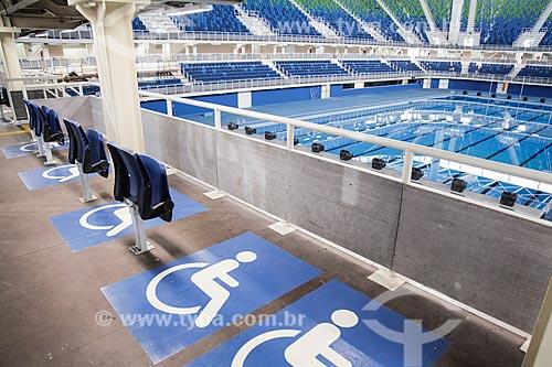 Espaço reservado para portadores de necessidades especiais no Centro Olímpico de Esportes Aquáticos - parte do Parque Olímpico Rio 2016  - Rio de Janeiro - Rio de Janeiro (RJ) - Brasil