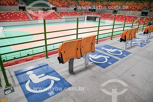 Espaço reservado para portadores de necessidades especiais na Arena do Futuro - parte do Parque Olímpico Rio 2016  - Rio de Janeiro - Rio de Janeiro (RJ) - Brasil