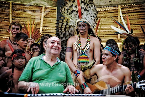 João Donato durante o Festival Yawanawá na aldeia da tribo Yawanawá  - Tarauacá - Acre (AC) - Brasil