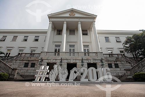 Palácio da Cidade (Prefeitura) do Rio de Janeiro com o símbolo Paralímpico  - Rio de Janeiro - Rio de Janeiro (RJ) - Brasil
