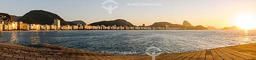 Vista do amanhecer em Copacabana a partir do antigo Forte de Copacabana (1914-1987), atual Museu Histórico do Exército  - Rio de Janeiro - Rio de Janeiro (RJ) - Brasil
