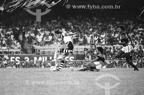 Roberto Dinamite, Júnior e Marinho durante jogo entre Flamengo x Vasco no Estádio Jornalista Mário Filho - mais conhecido como Maracanã  - Rio de Janeiro - Rio de Janeiro (RJ) - Brasil