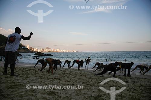 Aula de capoeira na Praia do Vidigal  - Rio de Janeiro - Rio de Janeiro (RJ) - Brasil