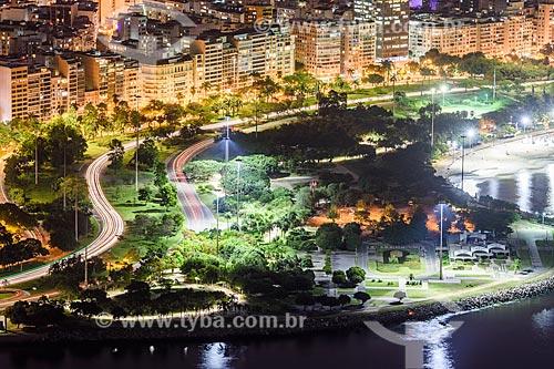 Foto aérea do Aterro do Flamengo durante a noite  - Rio de Janeiro - Rio de Janeiro (RJ) - Brasil