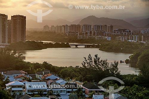 Vista da Lagoa de Marapendi durante o pôr do sol  - Rio de Janeiro - Rio de Janeiro (RJ) - Brasil