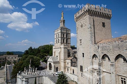 Vista do Palais des Papes (Palácio dos Papas) - 1345 - com a Catedral de Notre-Dame dos Doms ao fundo  - Avignon - Departamento de Vaucluse - França