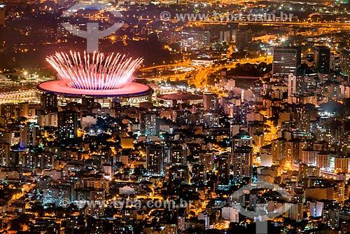 Vista do Estádio Jornalista Mário Filho (1950) - mais conhecido como Maracanã - durante a cerimônia de abertura dos Jogos Olímpicos - Rio 2016  - Rio de Janeiro - Rio de Janeiro (RJ) - Brasil