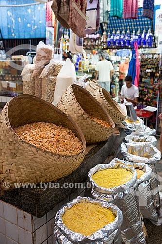 Camarão seco à venda na Casa das Tulhas - também conhecido como Feira da Praia Grande  - São Luís - Maranhão (MA) - Brasil
