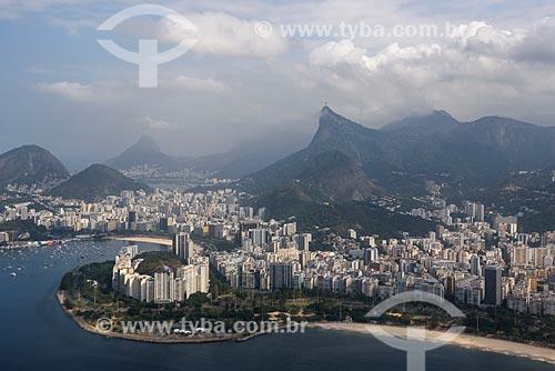 Foto aérea da Praia de Botafogo durante sobrevoo à cidade do Rio de Janeiro  - Rio de Janeiro - Rio de Janeiro (RJ) - Brasil