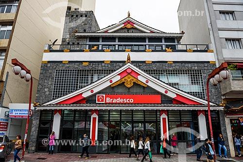 Agência bancária do Bradesco com decoração oriental na Praça da Liberdade  - São Paulo - São Paulo (SP) - Brasil