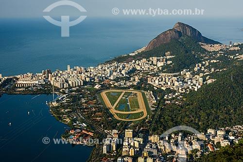 Vista do Hipódromo da Gávea e dos bairros da Lagoa, Jardim Botânico e Gávea a partir do Cristo Redentor  - Rio de Janeiro - Rio de Janeiro (RJ) - Brasil