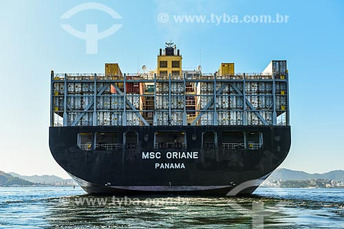 Detalhe de navio cargueiro na Baía de Guanabara  - Rio de Janeiro - Rio de Janeiro (RJ) - Brasil