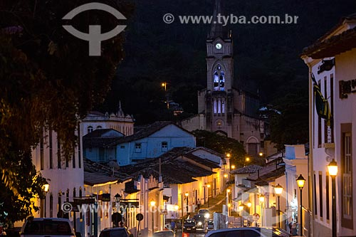 Vista da Rua Moretti Foggia com a Igreja de Nossa Senhora do Rosário dos Pretos ao fundo  - Goiás - Goiás (GO) - Brasil