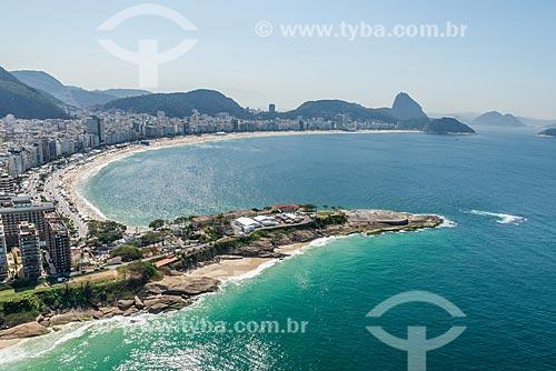Foto aérea do antigo Forte de Copacabana (1914-1987), atual Museu Histórico do Exército com a Praia de Copacabana ao fundo  - Rio de Janeiro - Rio de Janeiro (RJ) - Brasil
