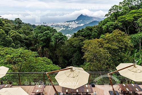 Vista do Rio de Janeiro a partir do deck do restaurante do Centro de Visitantes Paineiras - antigo Hotel Paineiras  - Rio de Janeiro - Rio de Janeiro (RJ) - Brasil