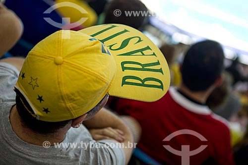 Detalhe de boné com os dizeres: Brasil - no Centro Olímpico de Esportes Aquáticos - parte do Parque Olímpico Rio 2016  - Rio de Janeiro - Rio de Janeiro (RJ) - Brasil