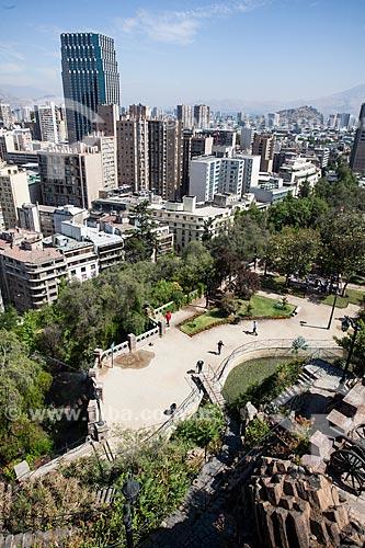 Vista da cidade de Santiago a partir do Cerro Santa Lucía (Morro Santa Lúcia)  - Santiago - Província de Santiago - Chile