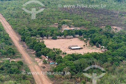 Foto aérea da aldeia Moikarakô na Terra Indígena Kayapó  - São Félix do Xingu - Pará (PA) - Brasil