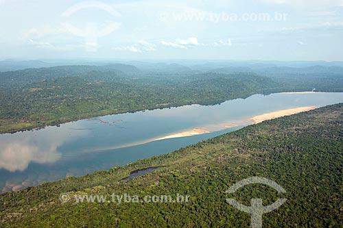 Foto aérea de banco de areia no Rio Xingu durante o período de seca  - São Félix do Xingu - Pará (PA) - Brasil