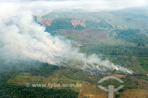 Foto aérea de queimada na floresta amazônica para pastagem  - Tucumã - Pará (PA) - Brasil