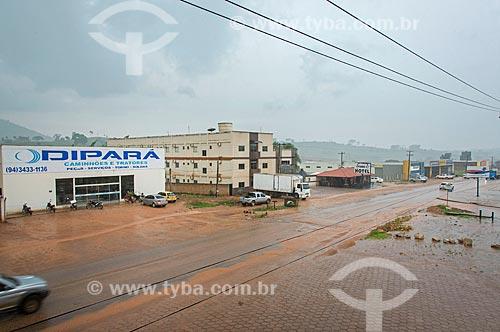 Avenida das Nações (PA-279) durante a chuva  - São Félix do Xingu - Pará (PA) - Brasil