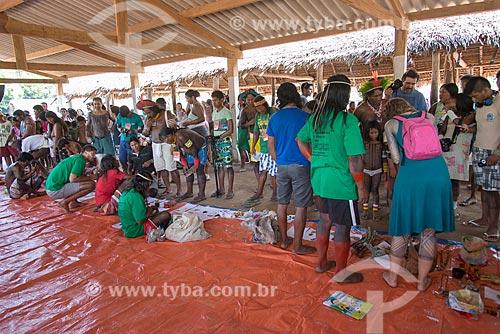 Sementes disponíveis para troca na Feira de troca de sementes da Aldeia Moikarakô - Terra Indígena Kayapó - com a participação de outras tribos e etnias  - São Félix do Xingu - Pará (PA) - Brasil