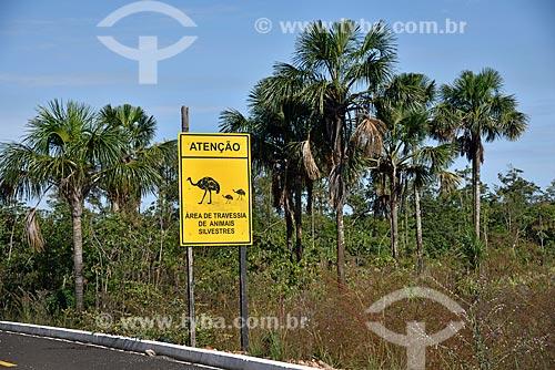 Placa indicando a travessia de animais silvestres na Rodovia GO-239 próximo ao Parque Nacional da Chapada dos Veadeiros  - Alto Paraíso de Goiás - Goiás (GO) - Brasil