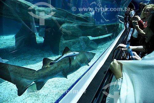 Visitantes observando tubarão no AquaRio - aquário marinho da cidade do Rio de Janeiro  - Rio de Janeiro - Rio de Janeiro (RJ) - Brasil