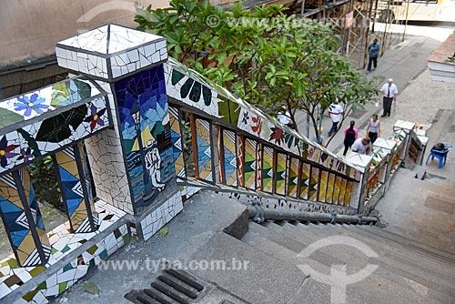 Detalhe de mosaico na escadaria do Morro da Conceição  - Rio de Janeiro - Rio de Janeiro (RJ) - Brasil