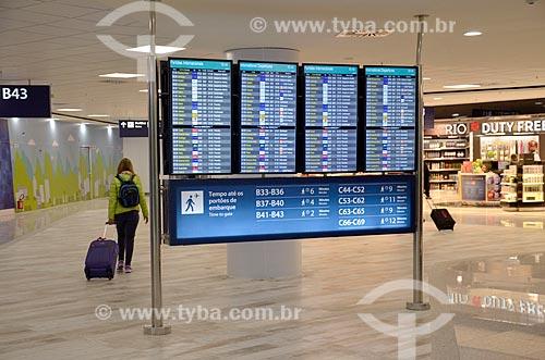 Painel de voos no Aeroporto Internacional Antônio Carlos Jobim  - Rio de Janeiro - Rio de Janeiro (RJ) - Brasil