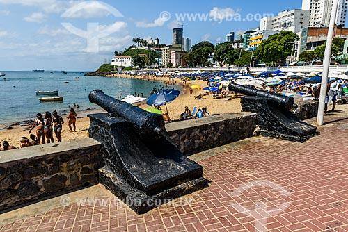 Forte de Santa Maria (1696) com a Praia do Porto da Barra e o Forte de São Diogo (1722) ao fundo  - Salvador - Bahia (BA) - Brasil
