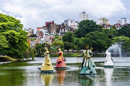 Escultura representando 8 Orixás no Dique do Tororó  - Salvador - Bahia (BA) - Brasil
