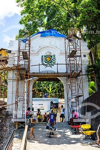 Portal do Morro de São Paulo durante reforma  - Cairu - Bahia (BA) - Brasil