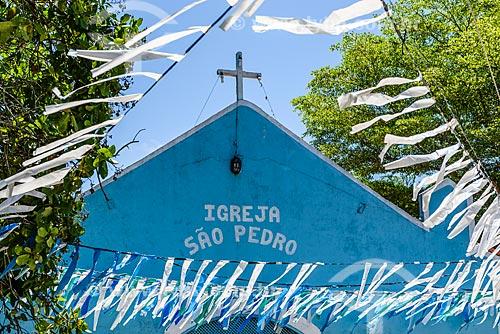 Detalhe da fachada da Igreja de São Pedro na Vila de Velha Boipeba  - Cairu - Bahia (BA) - Brasil