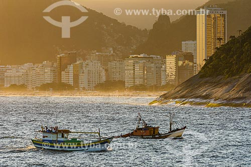 Vista de pesqueiros na Baía de Guanabara a partir da Ilha de Cotunduba  - Rio de Janeiro - Rio de Janeiro (RJ) - Brasil