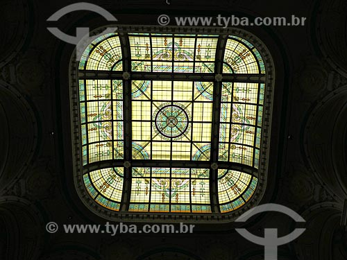 Detalhe de clarabóia na Biblioteca Nacional  - Rio de Janeiro - Rio de Janeiro (RJ) - Brasil